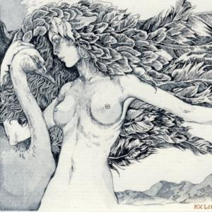 "Ex Libris ""Leda and Swan"" by Evgenia Timoshenko"